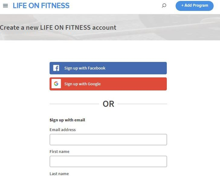 life on fitness online coach sign up